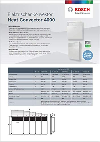 Konvektor Bosch Thermotechnik HC 4000-5 elektro Konverter, 230 V, weiß, für ca. 5 m2 Heizung 3