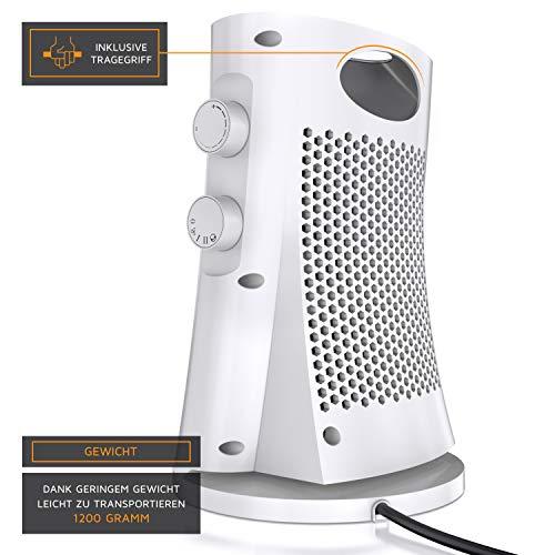 Heizlüfter Brandson – Heizlüfter mit zwei Leistungsstufen – Heizlüfter Badezimmer energiesparend leise – stufenlose… Heizung 4