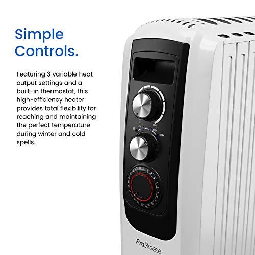 Ölradiator Pro Breeze Premium 2000W Ölradiator energiesparend – Elektrische Heizung mit 8 Rippen, 24h Timer Zeitschaltuhr, 3… Heizung 3