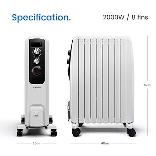 Ölradiator Pro Breeze Premium 2000W Ölradiator energiesparend – Elektrische Heizung mit 8 Rippen, 24h Timer Zeitschaltuhr, 3… Heizung 6